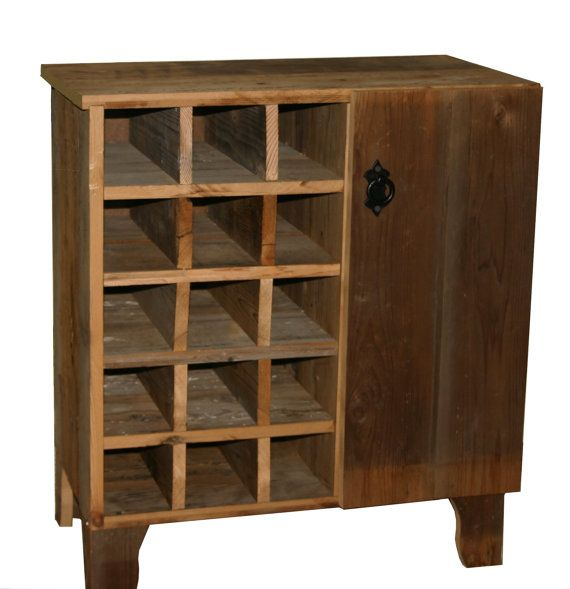 Reclaimed Rustic Barn Wood Wine Storage Cabinet rack With Glass