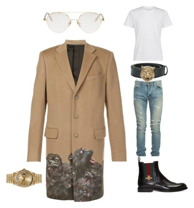 """""""Untitled #16"""" by deniaparham on Polyvore featuring Givenchy, Yves Saint Laurent, Gucci, RetroSuperFuture, Rolex, men's fashion and menswear"""