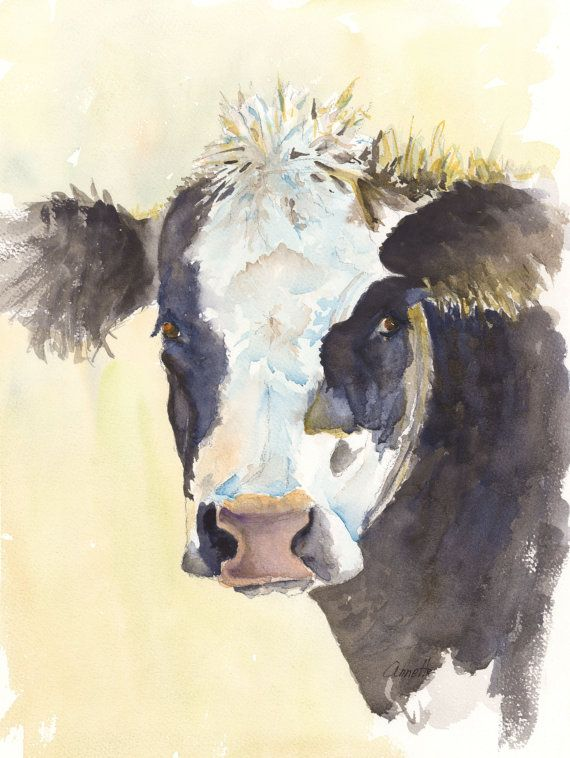 Black And White Cow Painting On Yellow Background Whimsical Cow