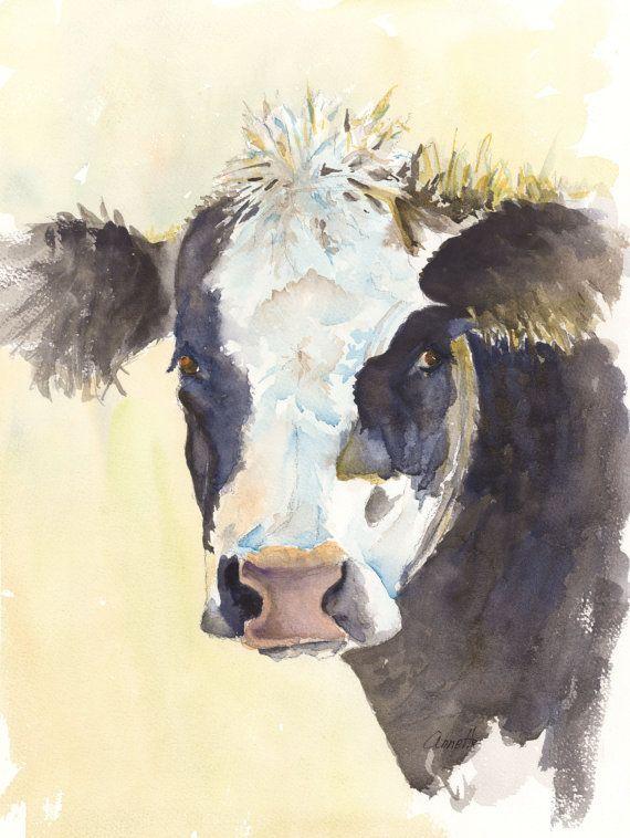 Black Angus Watercolor Painting Print Cattle Art Print Canvas Farm