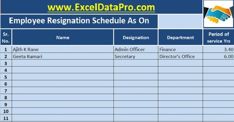 Download Employee Resignation Schedule Excel Template  Hr