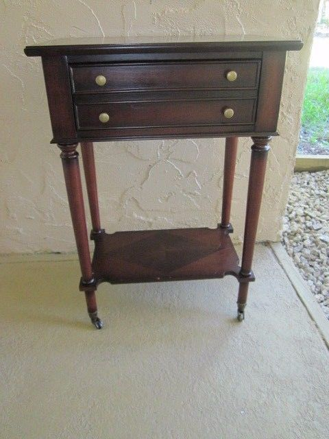 Vintage Ay Rolling Side Table Mahogany Mid Century Two Tiered Wheels Contemporary