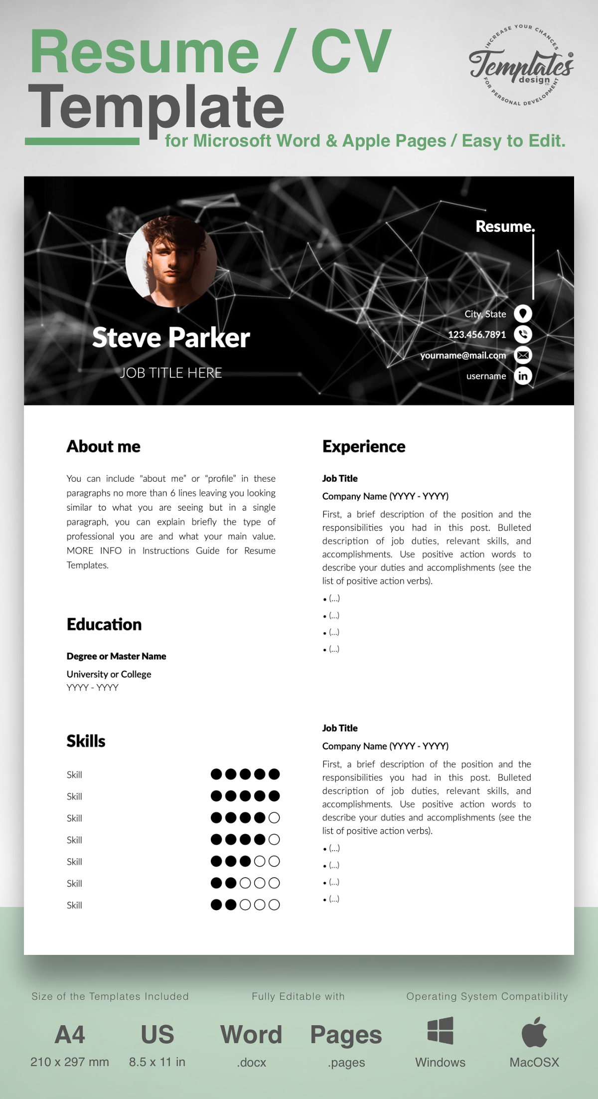 Steve Parker Creative Resume Cv Template For Word Pages Us Letter A4 Files 1 2 3 Page Resume Version Cover Letter References Cover Letter Wi Resume Cv Resume Cv Template