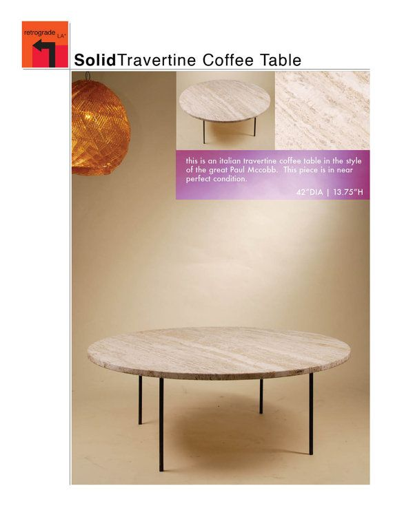 coffee table 42dia mid century modern travertine coffee table by
