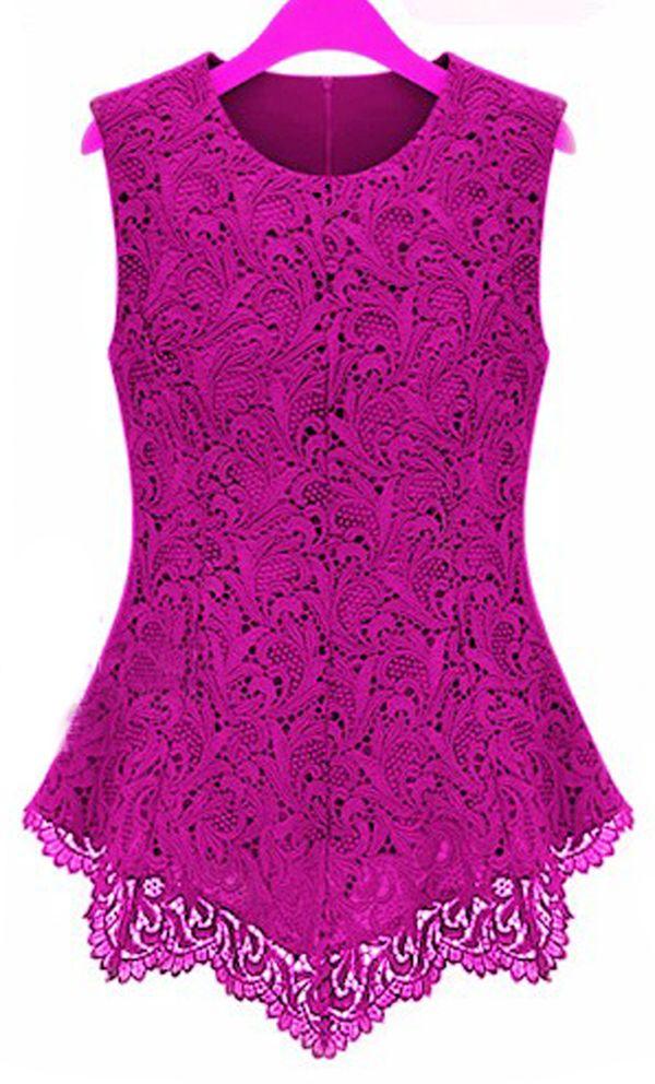 New Ladies Women Lace Blouse Sleeveless Shirt Doll Chiffon Tops XS ...