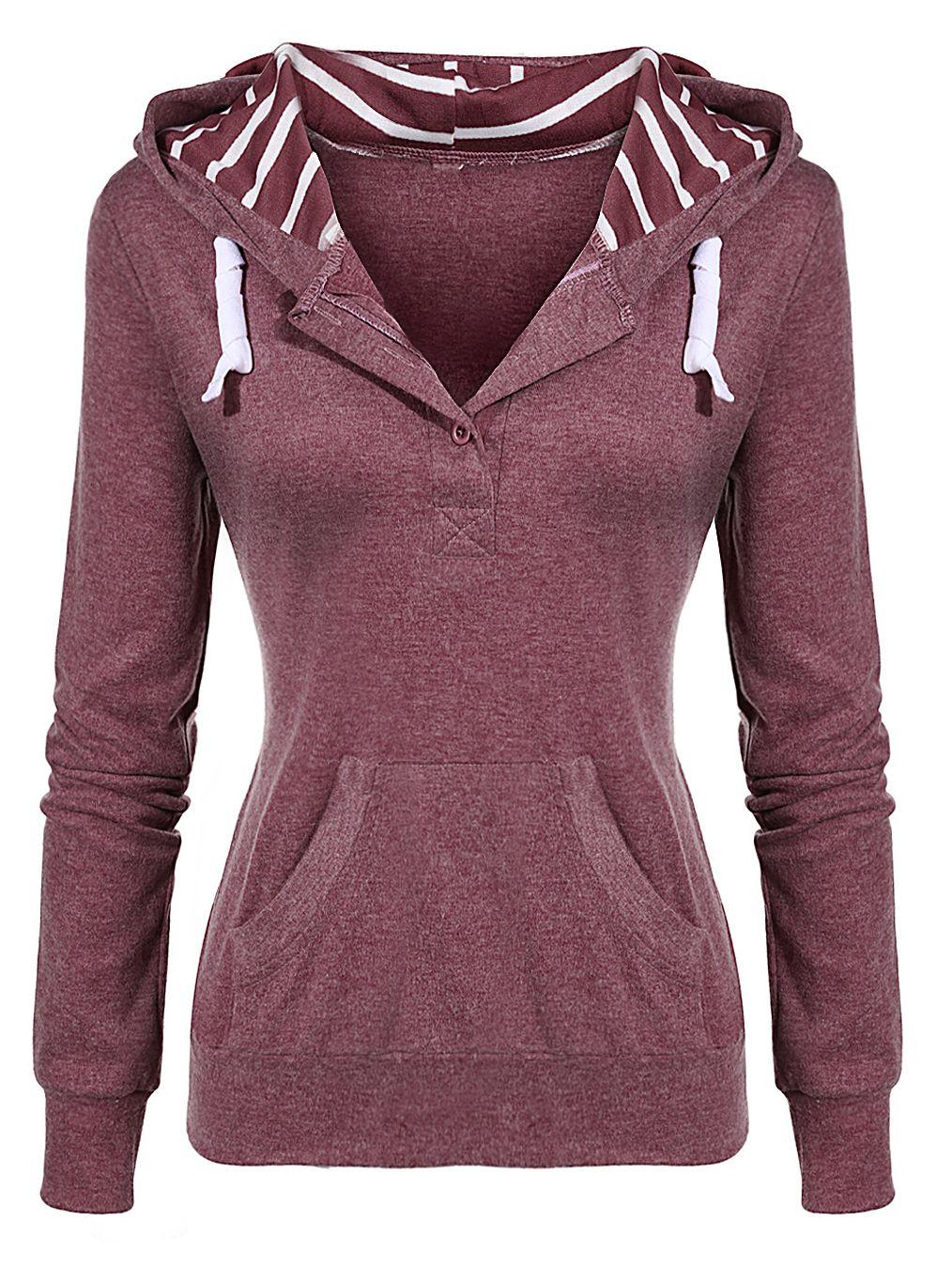Red Drawstring 18 88 Sweatshirt Slim Pockets Chaquetas Hooded wvCzqw6