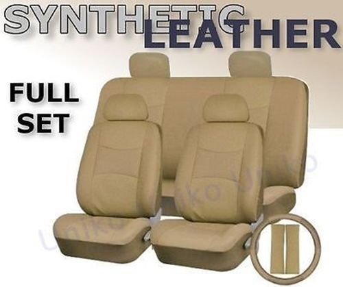 Car-Seat-Covers-Beige-Tan-PU-Synth-Leather-4-headrests-Steering-Wheel-Set-CS5