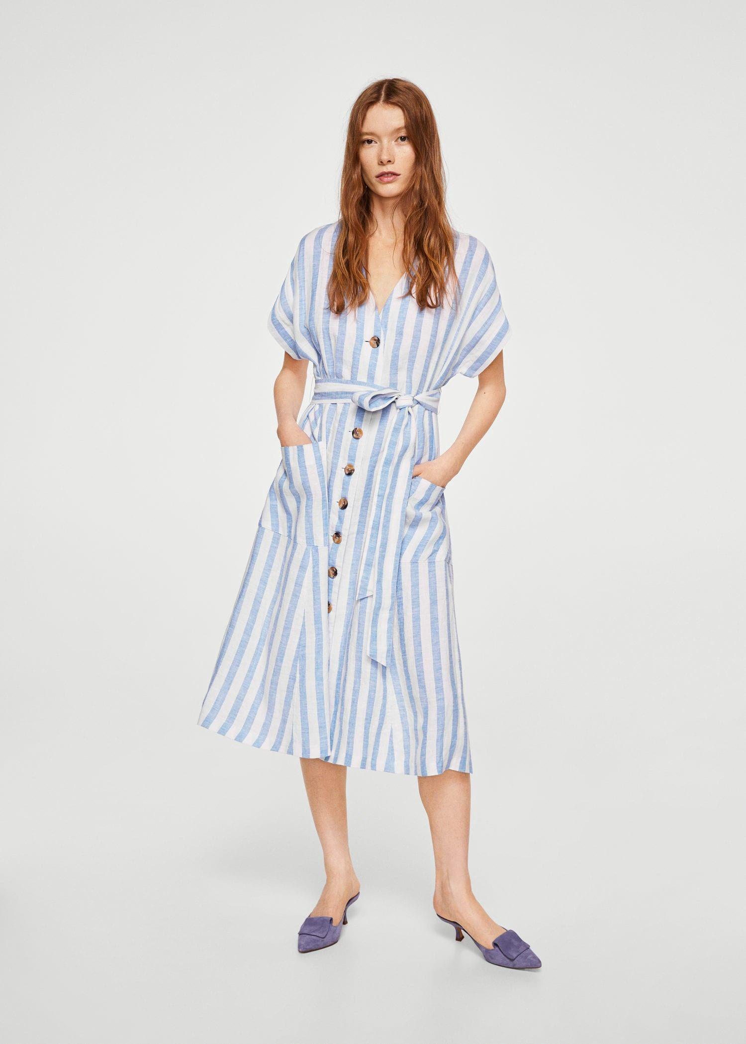 Mango Striped Linen Dress Women | 2 | Linen dress women