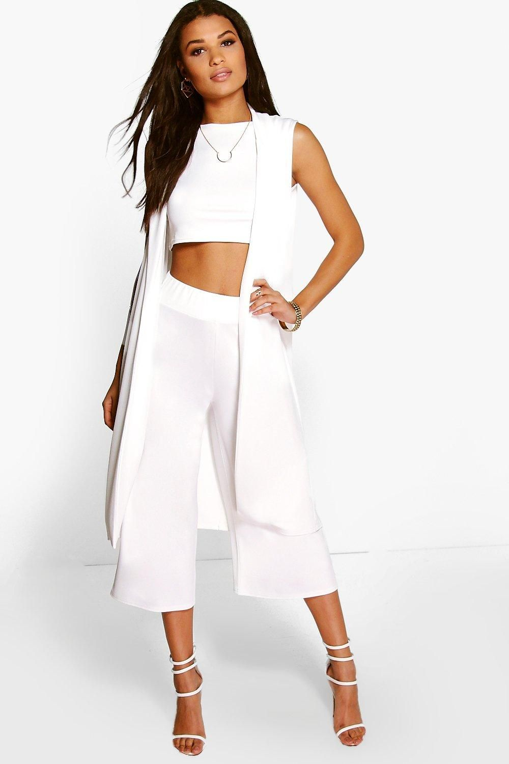 Misa 3 Piece Crop Culotte   Duster Co-Ord Set f480aa639