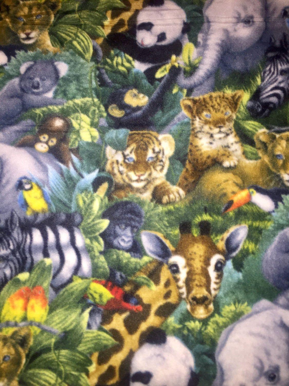 Jungle baby animals fleece blanketwildlife no sew blanketpanda