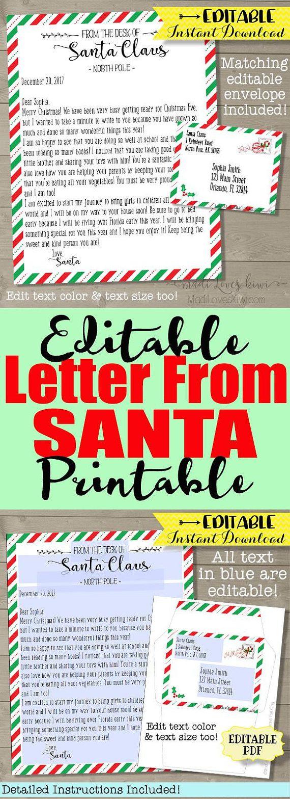 Letter From Santa Claus Santa Letter Template Christmas Letter