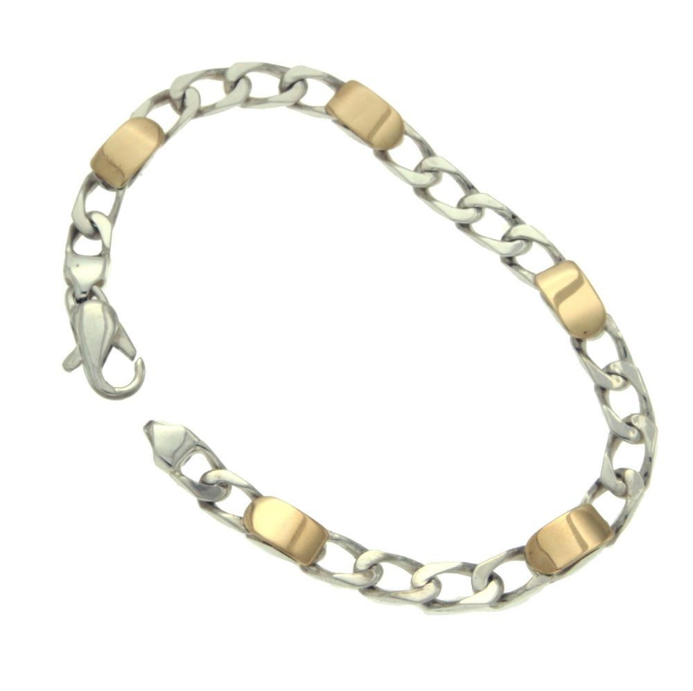 7a76d659e ·Tiffany & Co 925 Sterling Silver 18K Gold Curb Link Bracelet Size 7