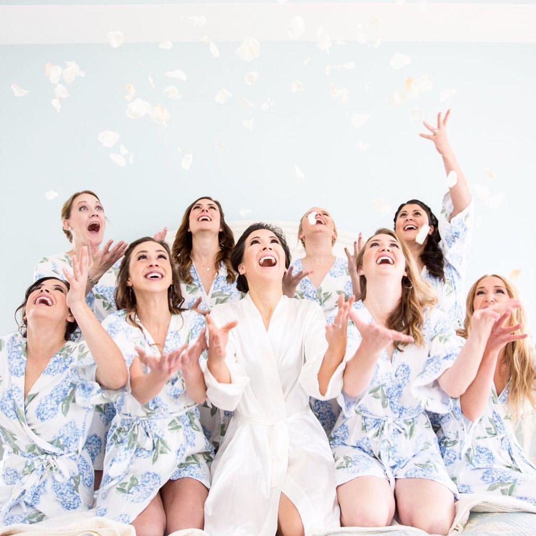 @piyama_co Real Wedding. Short Robes In Hydrangea Blue
