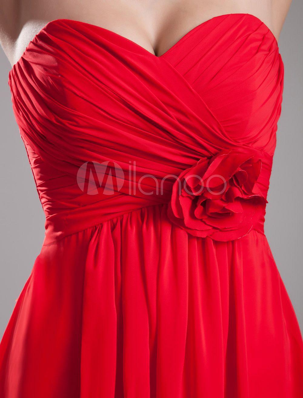robe demoiselle d 39 honneur rouge avec fleur chiffon ps et rouge. Black Bedroom Furniture Sets. Home Design Ideas