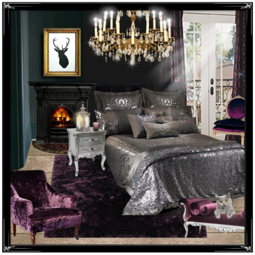 Dark bedroom black walls chandelier fireplace purple for Purple and silver bedroom designs