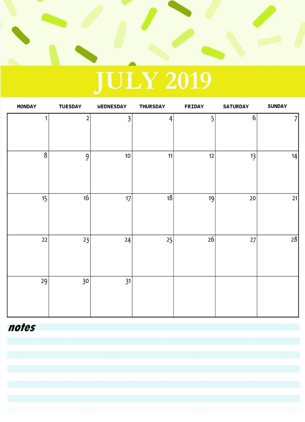 July 2019 Calendar Template With Notes Monthly Calendar Template