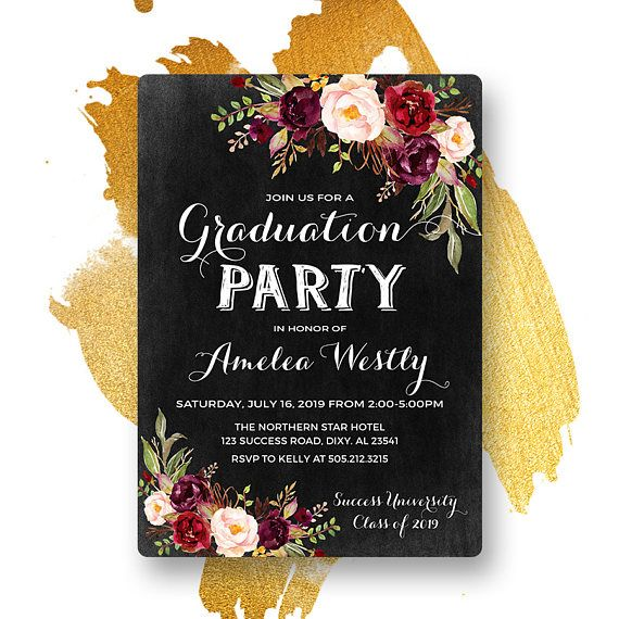 burgundy floral graduation invitation printable chalkboard