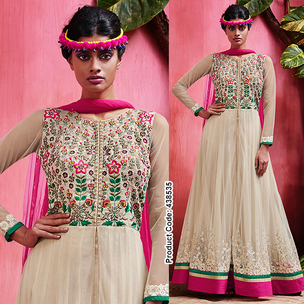 Turn to floral this occasion!  #Elegant #FullLength #Anarkali with #Floral #Embroidery.  #Nude #Beige #Fashion2015 #SalwarKameez #Green #Pink #FloralMotifs #Bollywood #LatestTrend