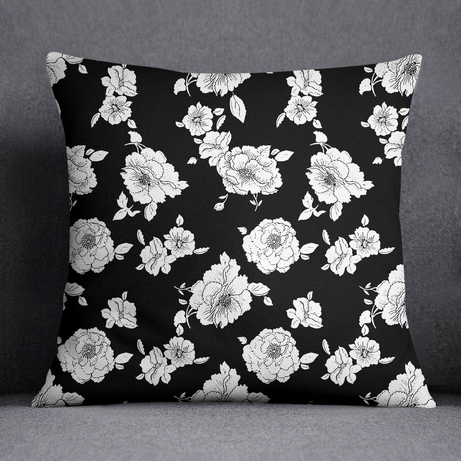 Ssassy floral print decorative pillow case black sofa cushion cover