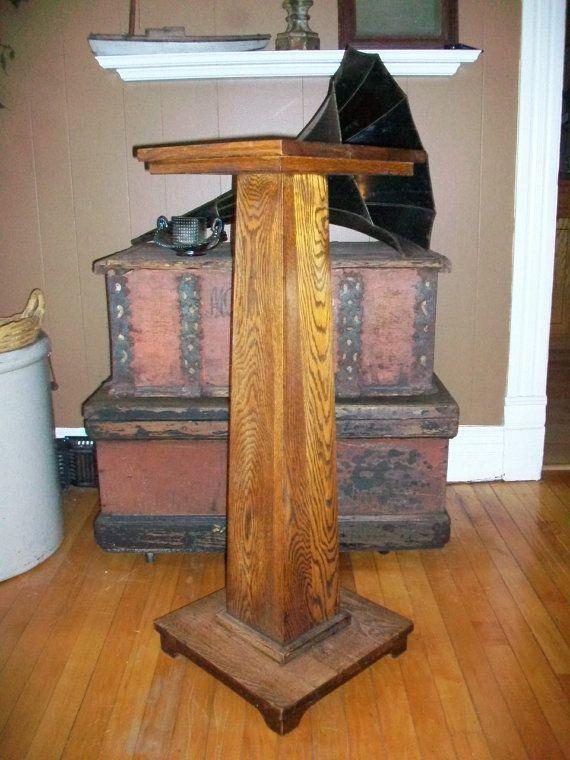 Antique fern stand oak pedestal plant stand by redriverantiques cool stuff - Plant pedestal indoor ...