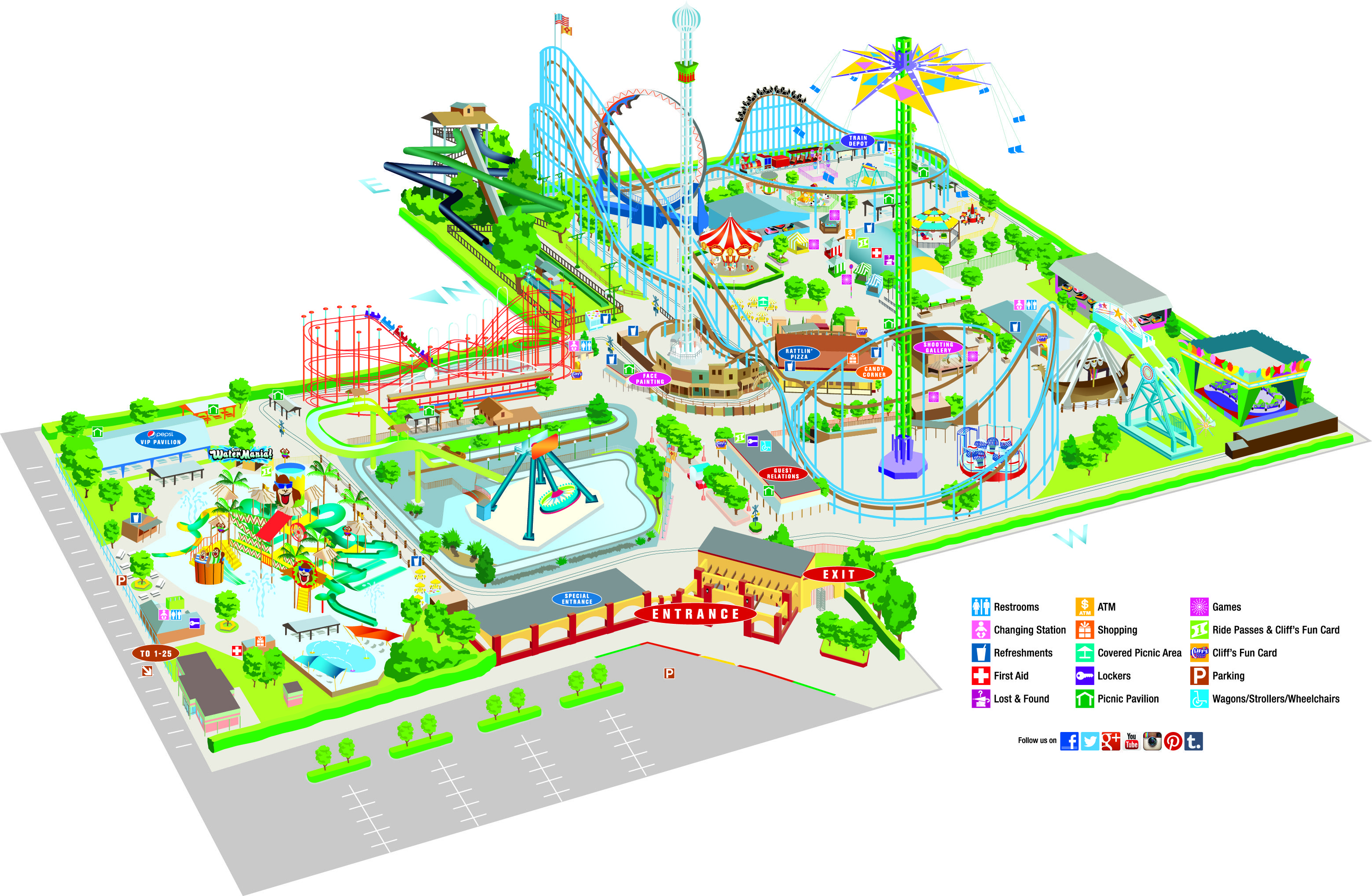 2014 cliff s amusement park map map travel pinterest theme park map. Black Bedroom Furniture Sets. Home Design Ideas