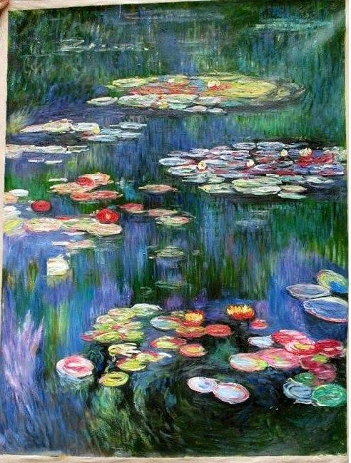 Amazing Reproduction Painting Monet Water Lilly s Lake of Giverny Simple Elegant - Awesome lake painting Modern