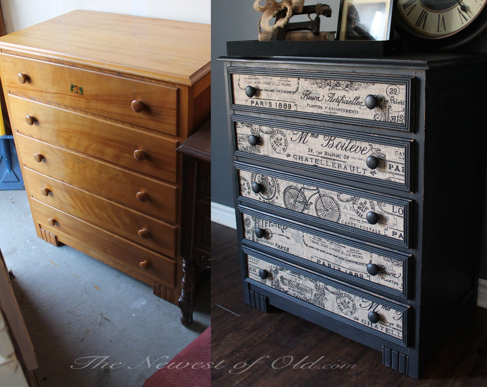 Black and Burlap Dresser Dresser redo ideas in 2018