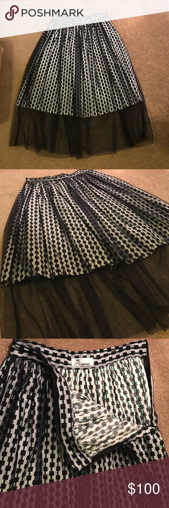 Gorgeous skirt from HK Patterned (green and navy) skirt with navy tulle overlay. From HOng King travels. Bought it this summer and never wore it! XS and doesn't fit me! Sad face! Pinwei Skirts A-Line or Full