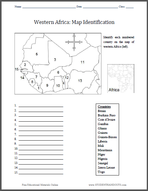 Western Africa Map Identification Worksheet Free to print PDF