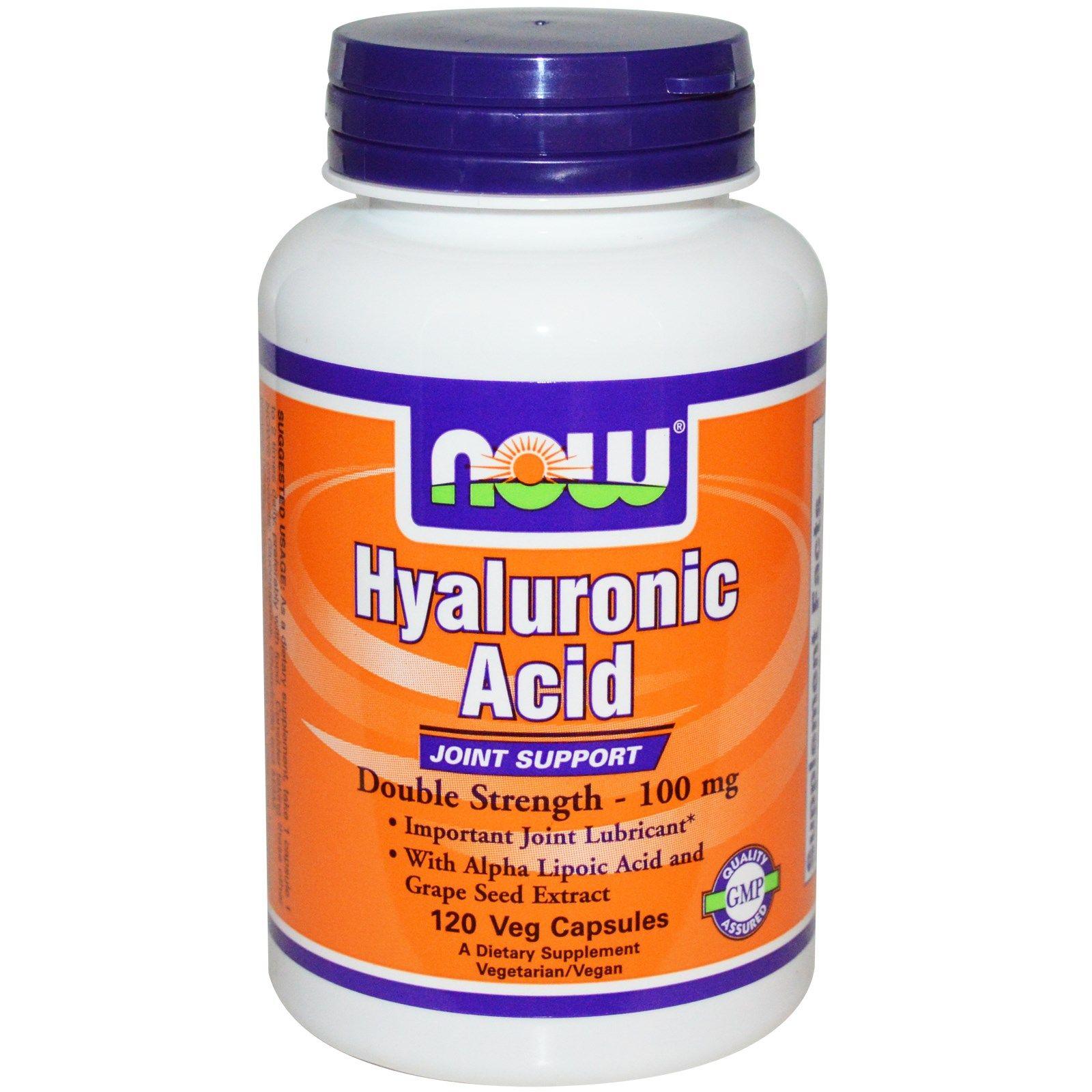 Now Foods, Гиалуроновая кислота, двойная сила, 100 мг, 120 капсул на растительной основе
