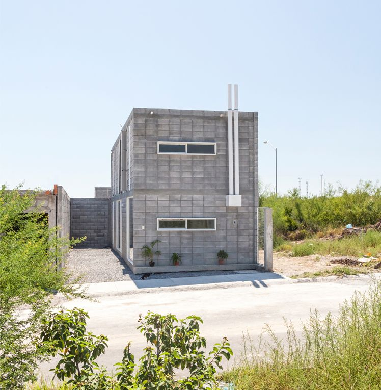 modern concrete block house is made with low budget scheme but