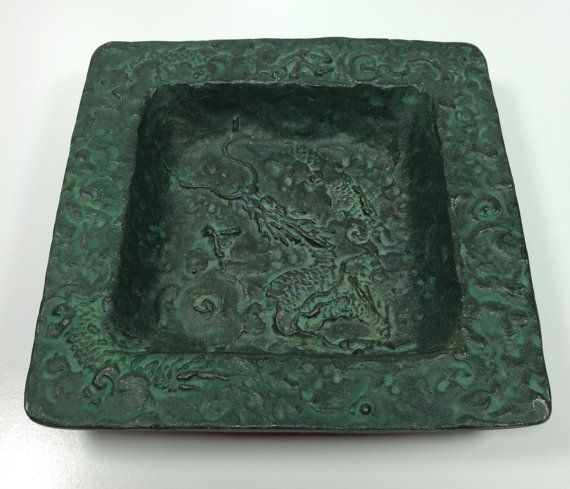 Vintage Square Metal Dish with Ornate Dragon or Serpent Design | wonderful green color / patina - likely iron composition | Made in Japan by ShopTheHyphenate