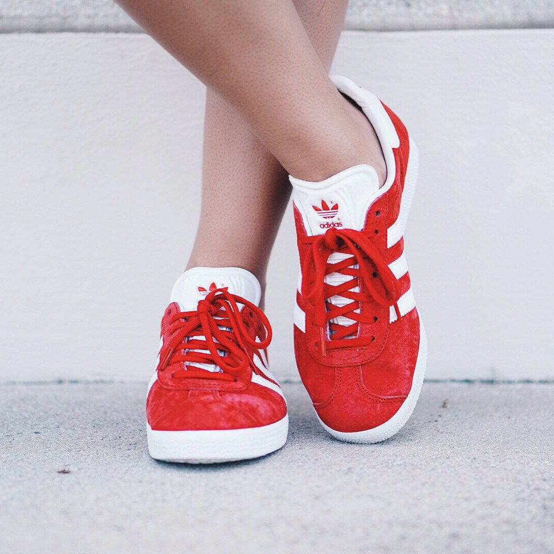 Red adidas Gazelle sneakers