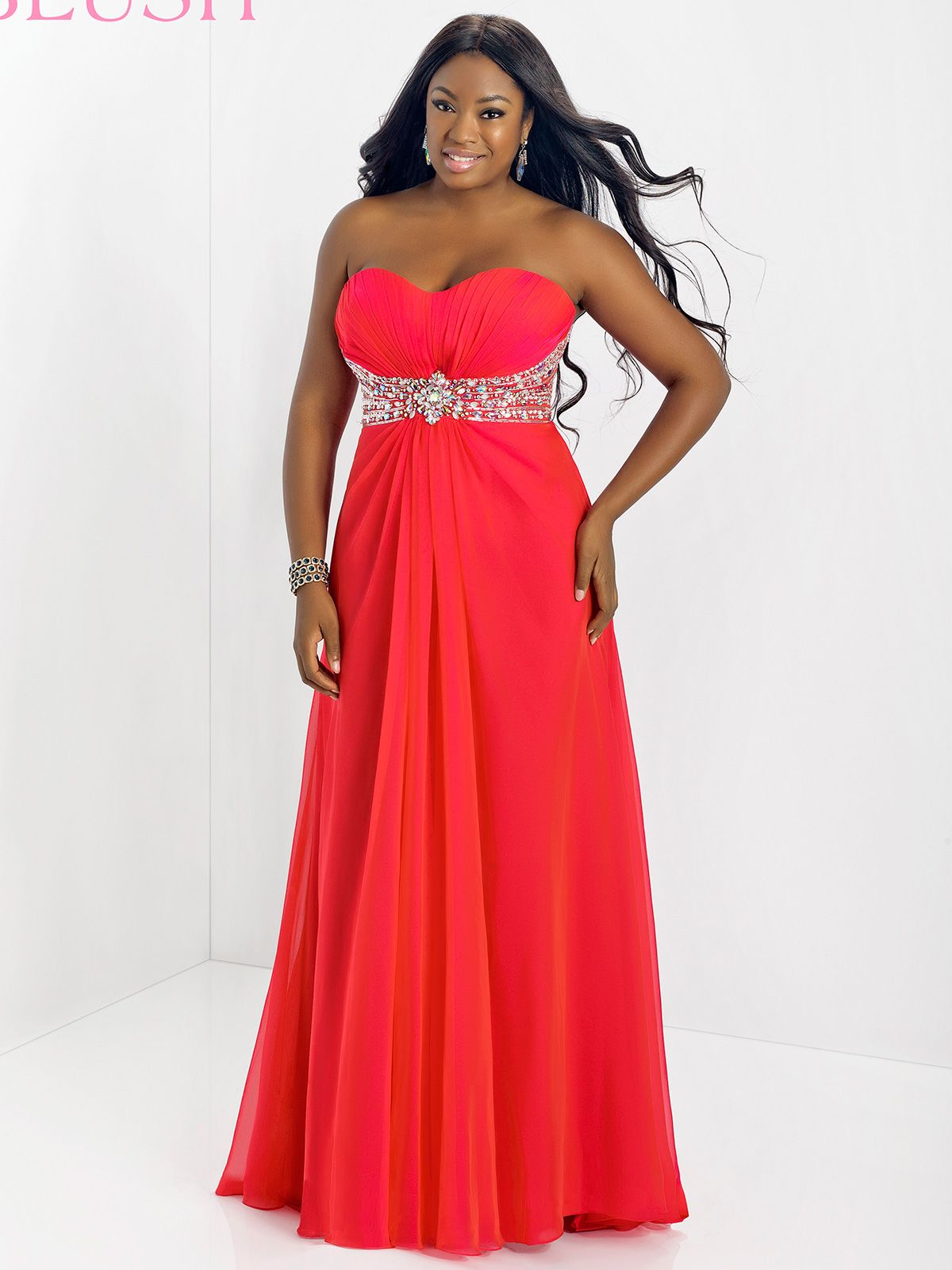 This stunning blush plus size prom dress will be fabulous for any