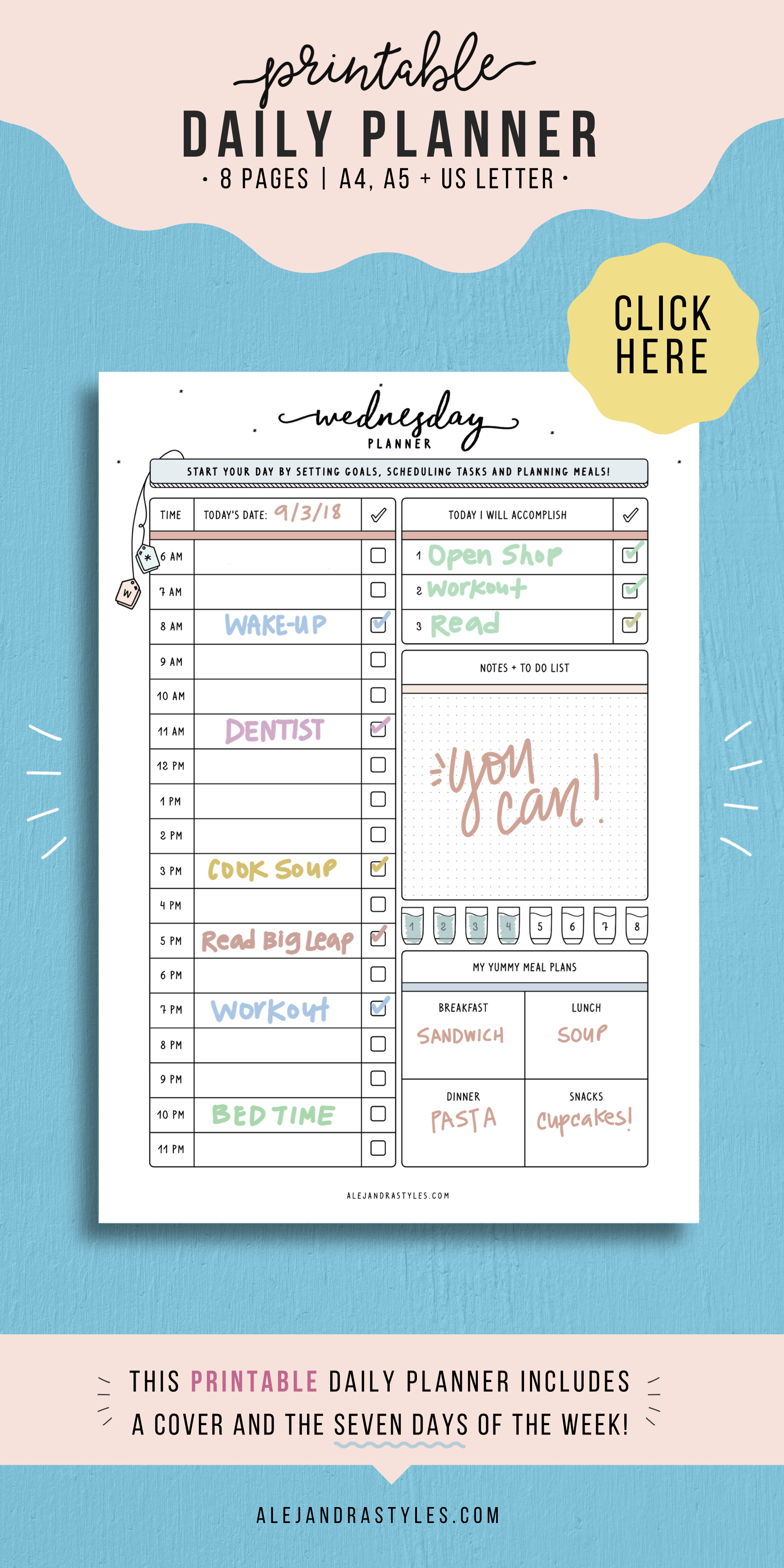 Daily Planner Printable Daily Hourly Planner Pages