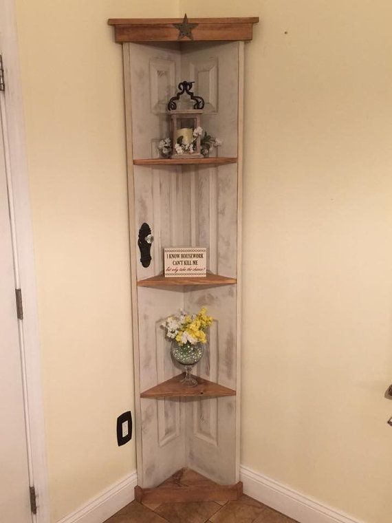 custom old door corner accent shelf bookcase country
