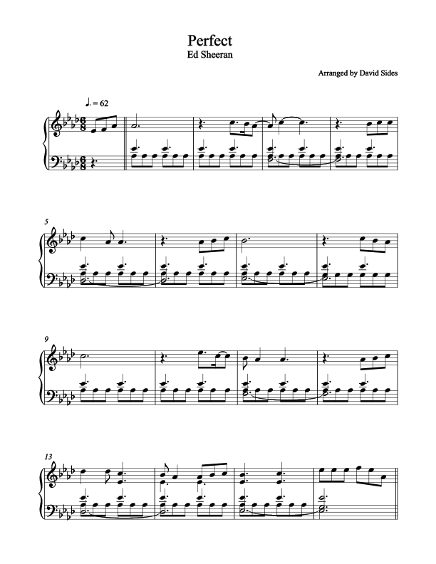 Perfect Ed Sheeran Piano Sheet Music Easy With Letters