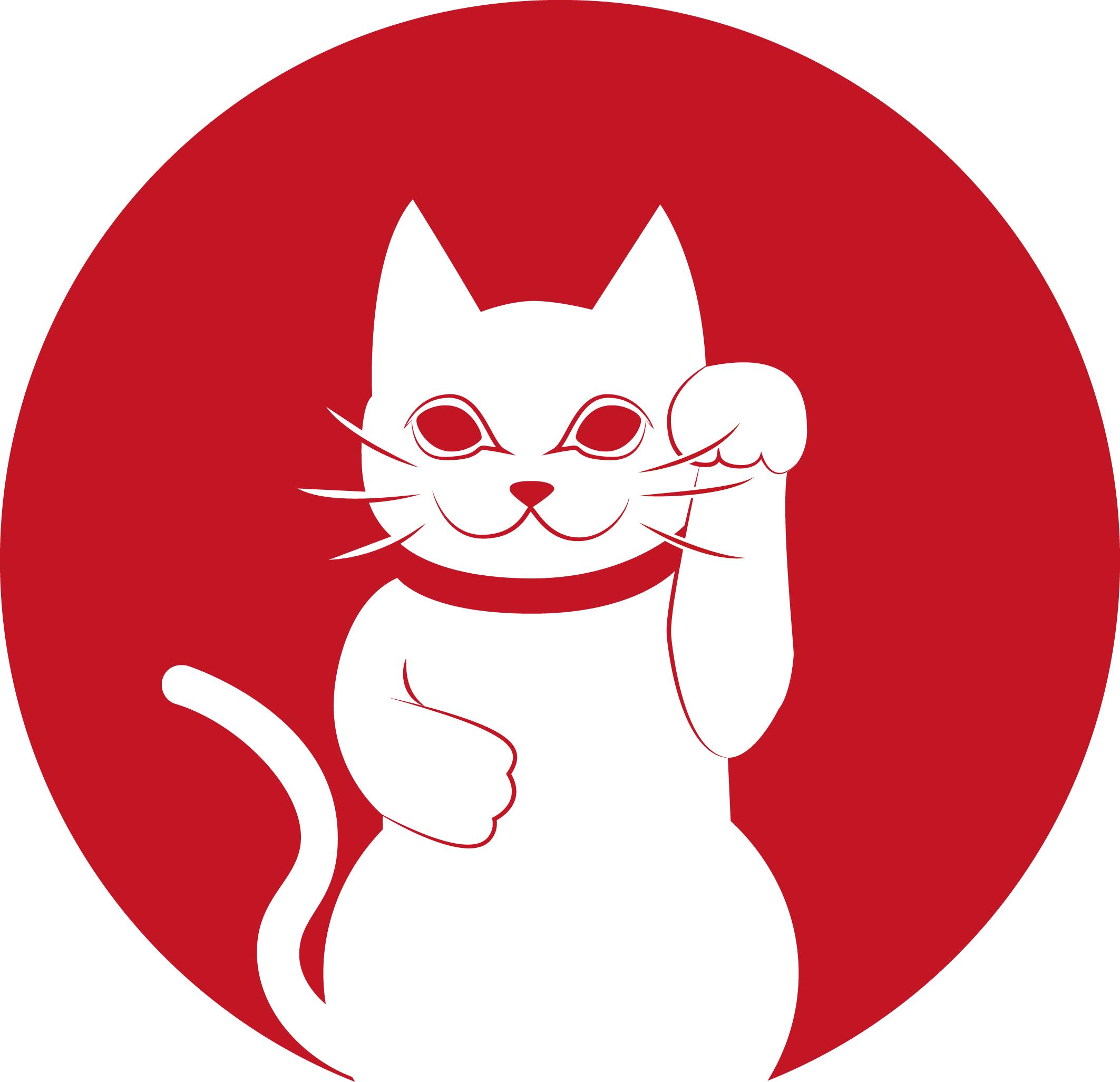 Japanese logo with a maneki neko by Andréa Maugars