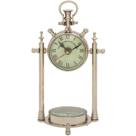Smart Aluminum Glass Table Clock Compass Glass Table Nautical
