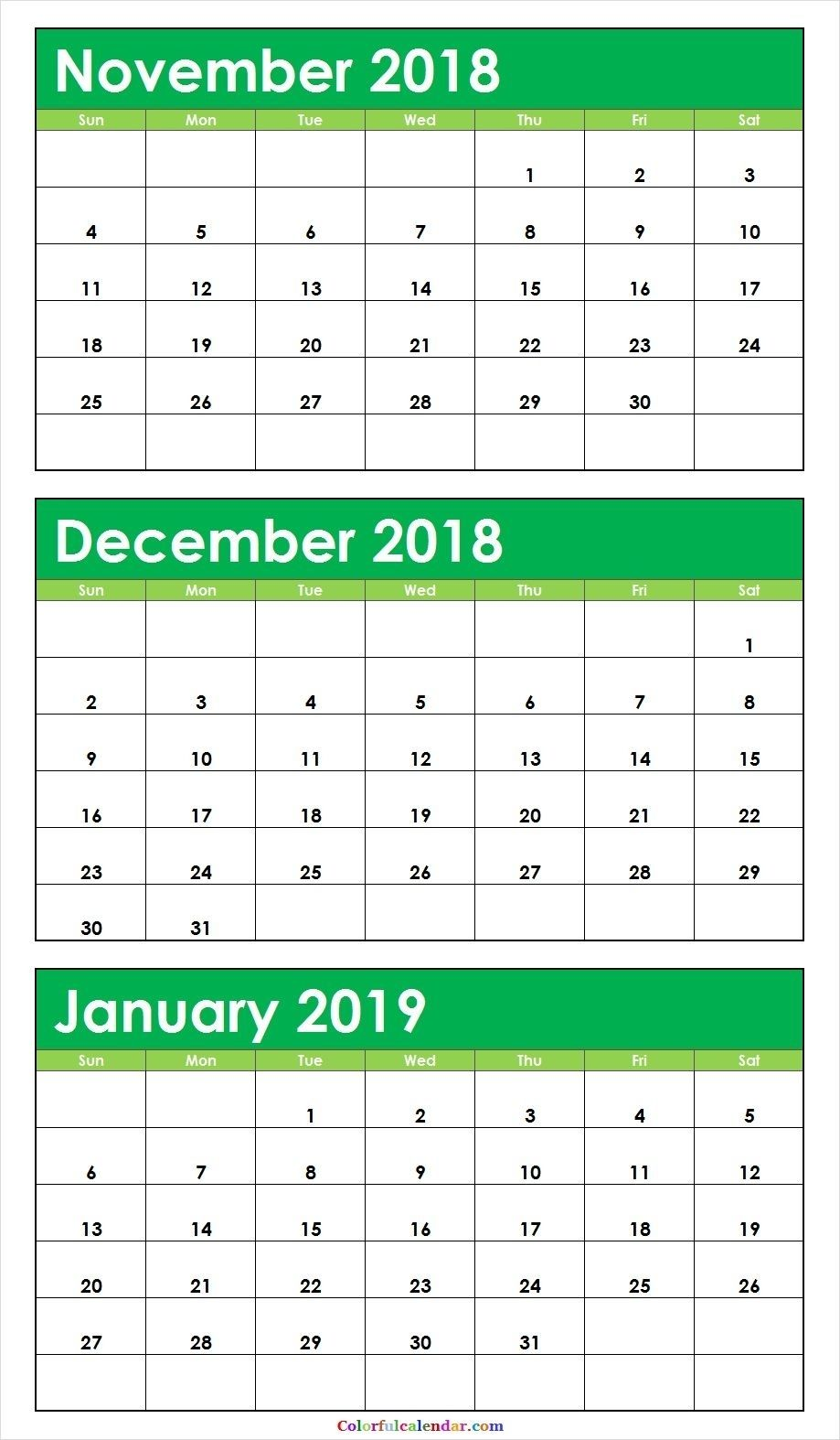 3 Month November December 2018 January 2019 Calendar Green Free