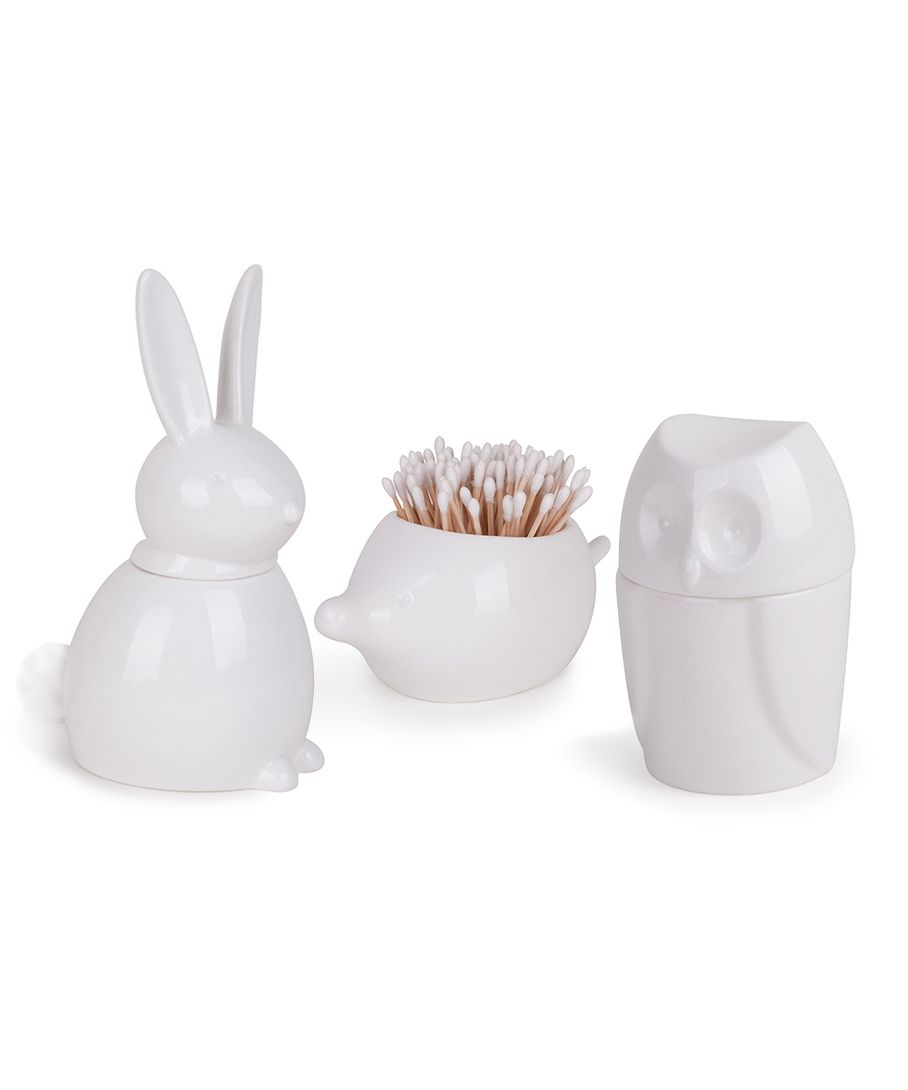 """Bathroom Canister Menagerie  $19.99 Owl Dimensions: 3.50"""" Diam. x 5.50"""" H  Porcupine Dimensions: 7"""" L x 4"""" W x 3"""" H  Bunny Dimensions: 5"""" L x 3"""" W x 7.50"""" H  Material: High-gloss ceramic  Includes: Set of 3"""