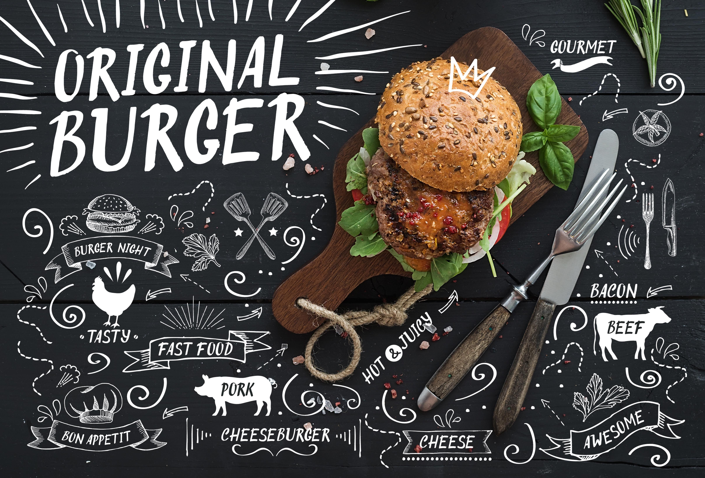 Original Burger Font by BarcelonaShop on creativemarket  CHALKBOARD OBSESSED  Diseo de menu Men Tipografa