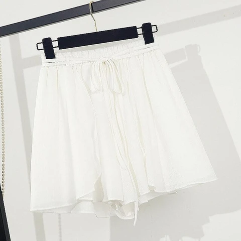 Elastic Waist Lace Up Beach Chiffon Shorts