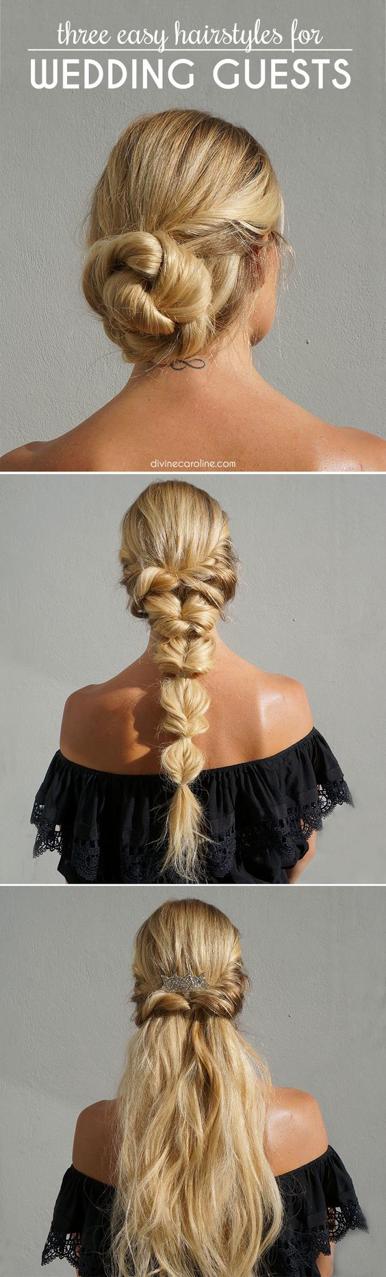Here are three easy and fabulous hairstyles for wedding guests to