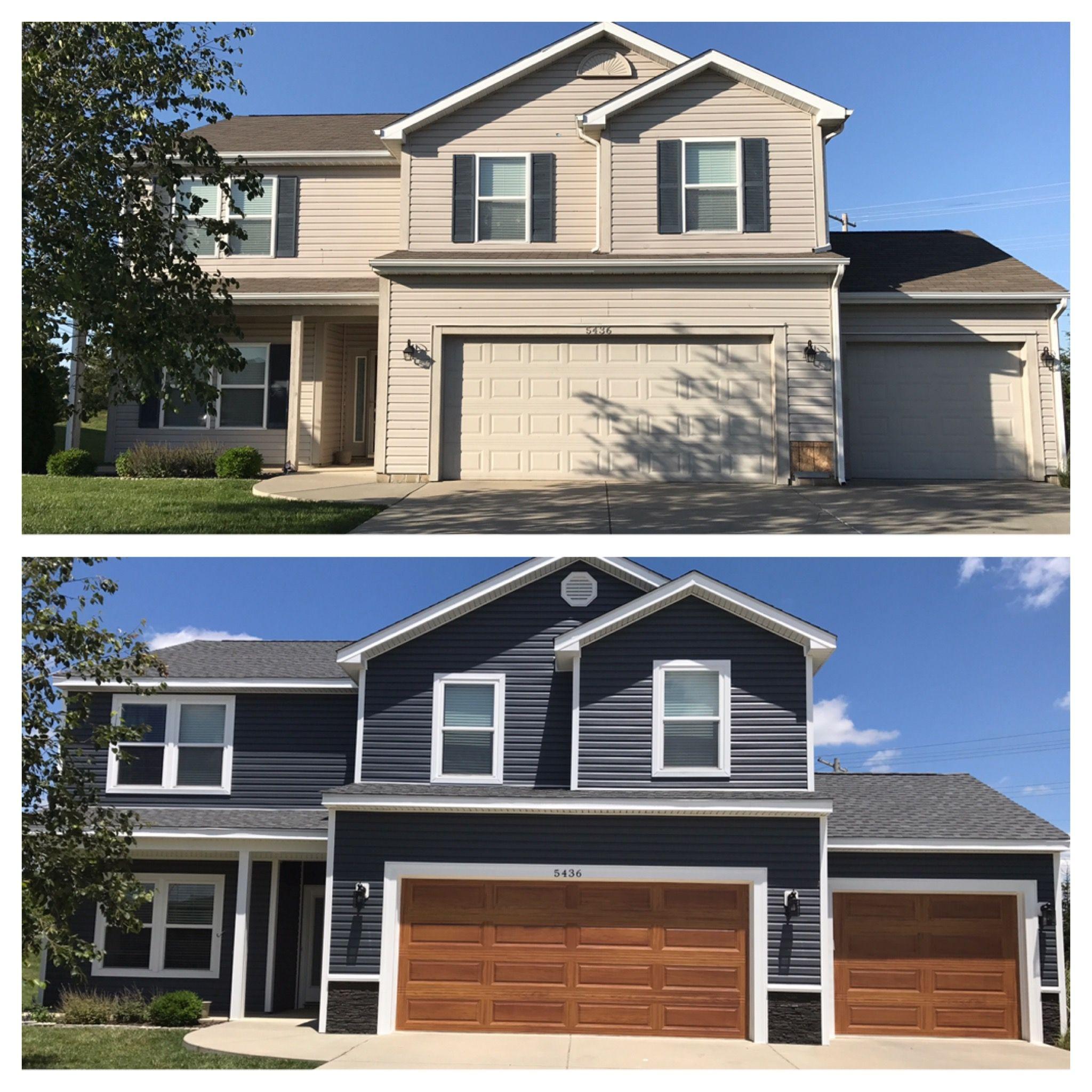 Hail Damage House Transformation Crane Slate Siding Chi Accents Cedar Garage Doors House Exterior Blue Exterior Paint Colors For House Brown Garage Door