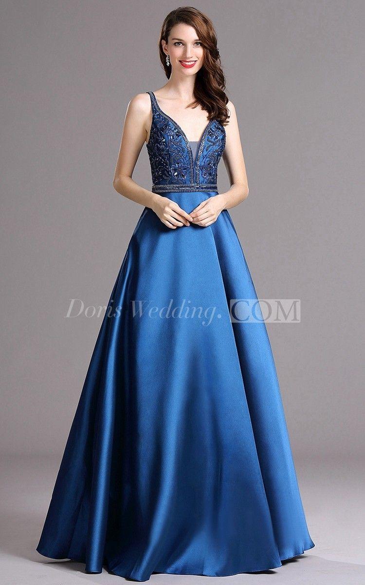 Ball gown vneck sleeveless empire satin sequins backless dress