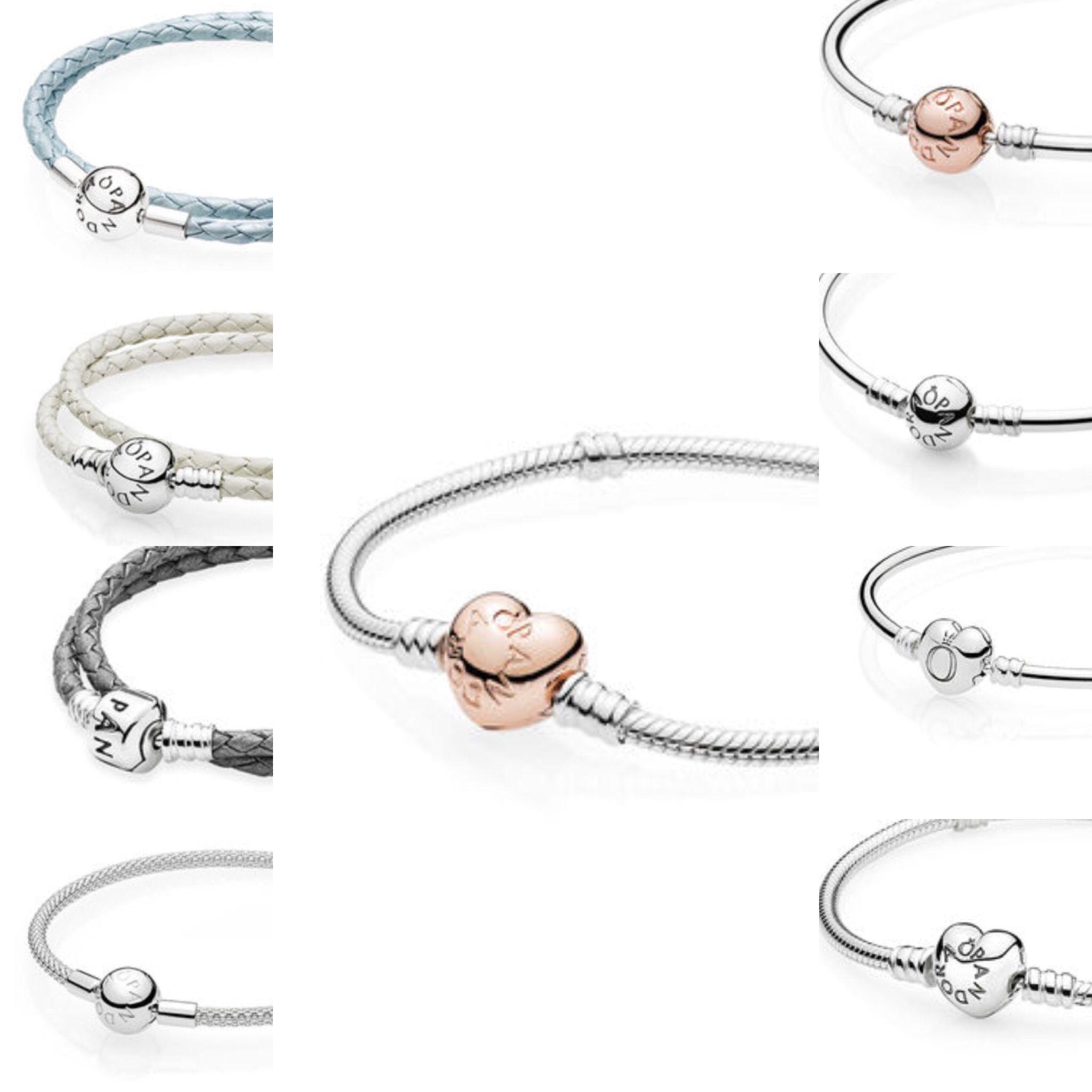 Pandora bracelets, leather, sterling silver, rose gold, gold ...