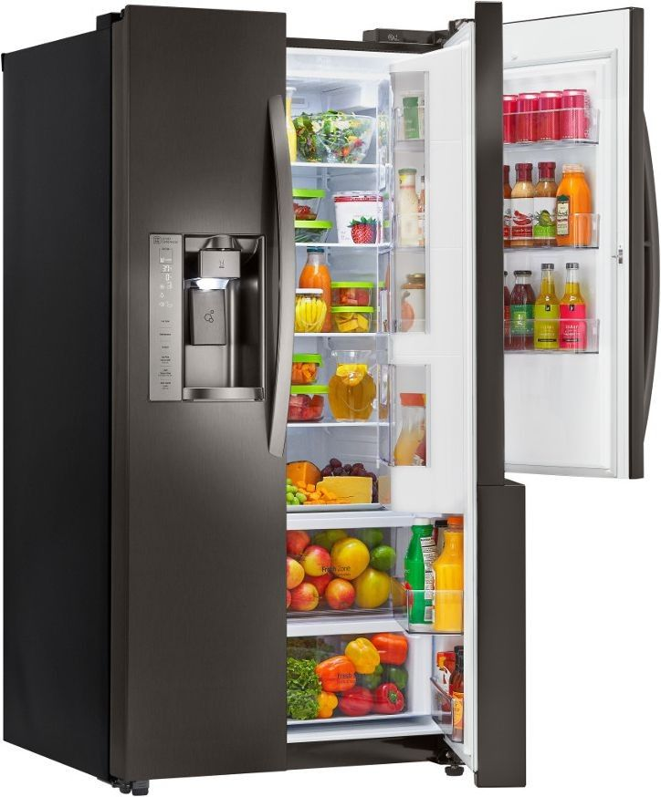 lg 26 0 cu ft black stainless steel side by side refrigerator