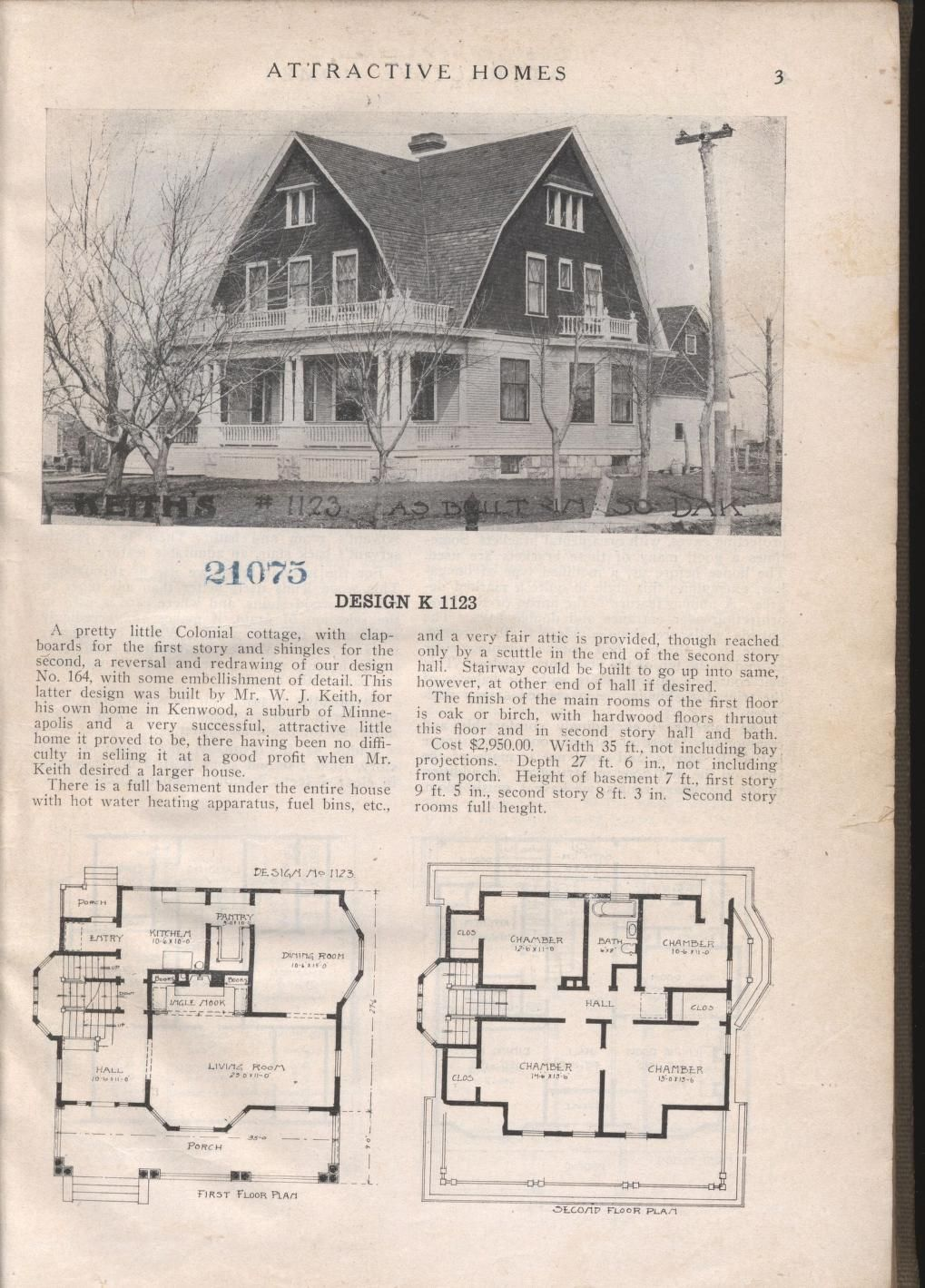 Design K 1123 - from Attractive homes by Max L. Keith, Published ...