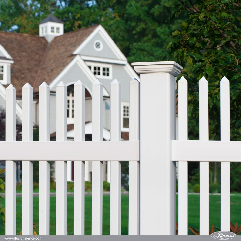 beautiful matte finish white vinyl picket fence from